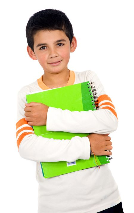 little school boy holding a notebook - isolated over a white background