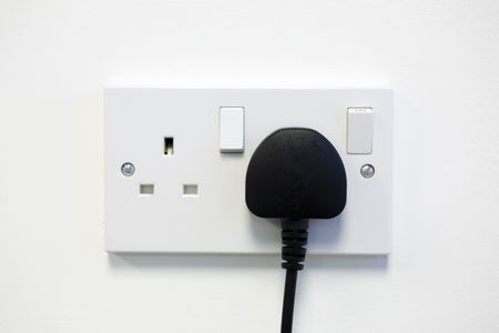 British wall double plug socket