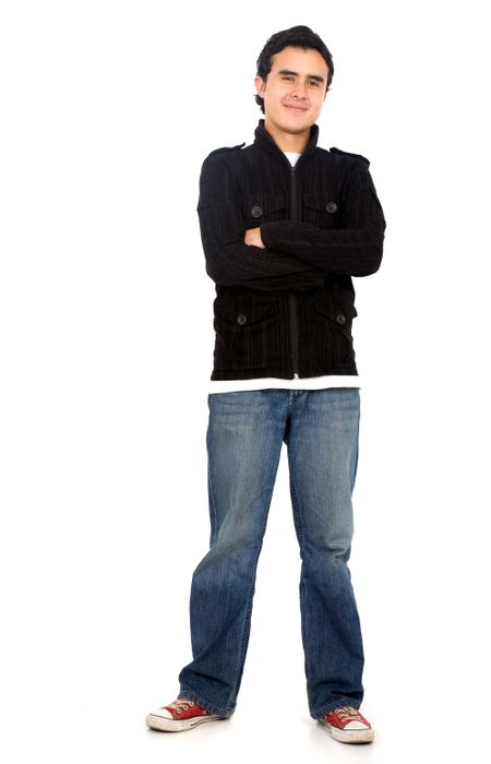 Casual friendly man in jeans and black – isolated over a white background