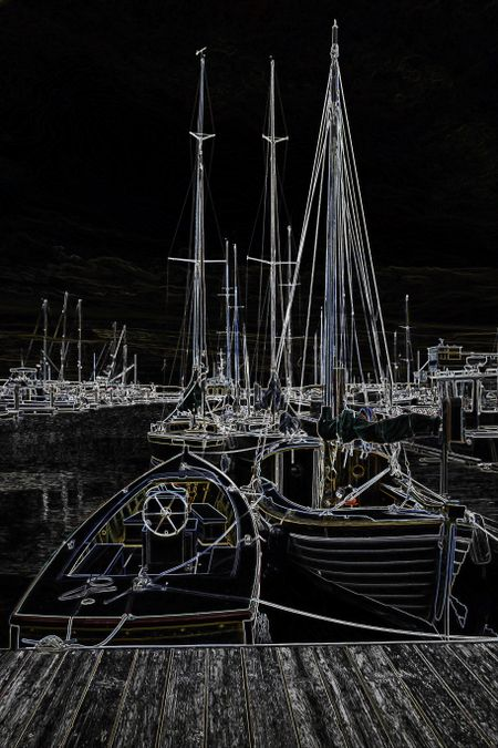 Nocturnal illustration of boats tied up in a coastal marina in the Pacific Northwest, with effect of glowing edges, for motifs of lifestyle or travel