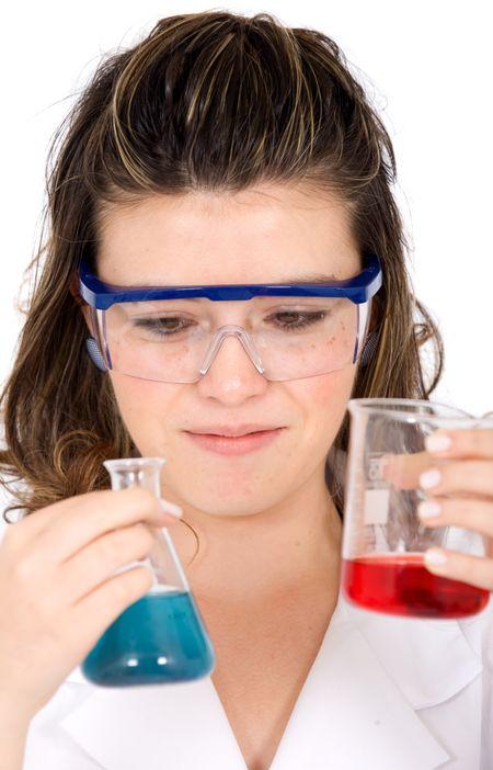 female scientist over a white