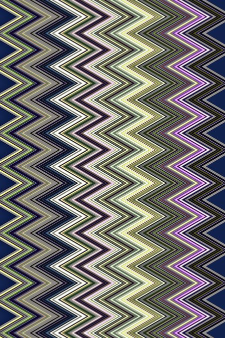 Multicolored pattern of contiguous vertical zigzags in parallel for decoration and background with themes of repetition, conformity, alternation