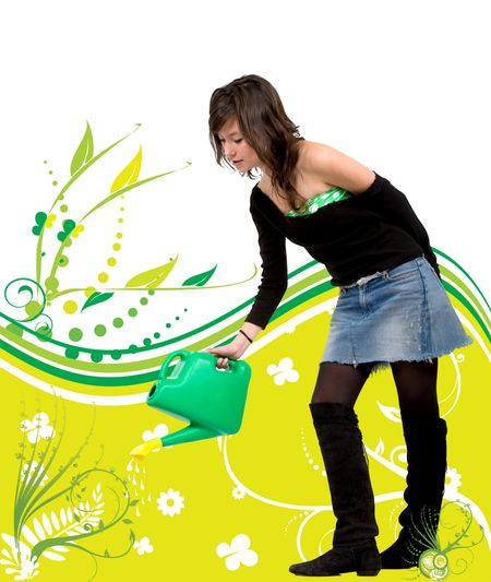 illustration of a beautiful girl watering a plant