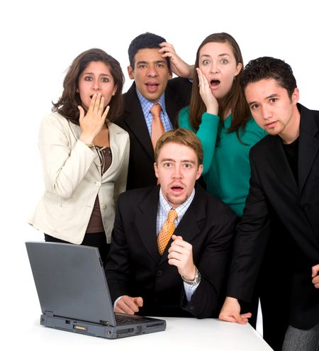 business team looking shocked and stressed - isolated over a white background