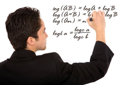 maths teacher writing a mathematical formula on the board - isolated over a white background