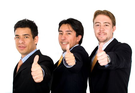 business team of success with thumbs up - isolated over a white background