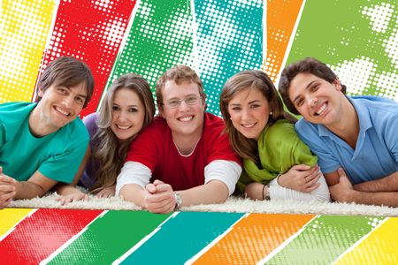 Colorful group of happy young friends smiling
