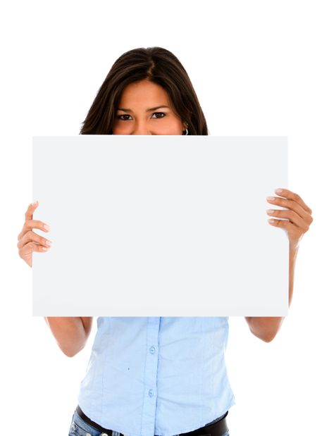 Woman covering her face with a white banner ad isolated