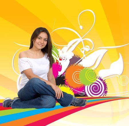 Illustration of a beautiful woman sitting on a rainbow