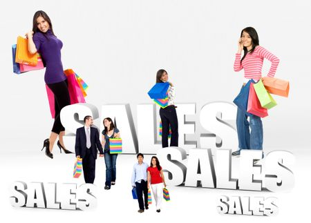 Shopping people with bags at season sales