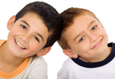young kids portrait isolated over a white background