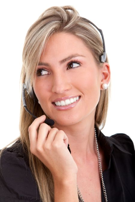 Customer support operator isolated over a white background