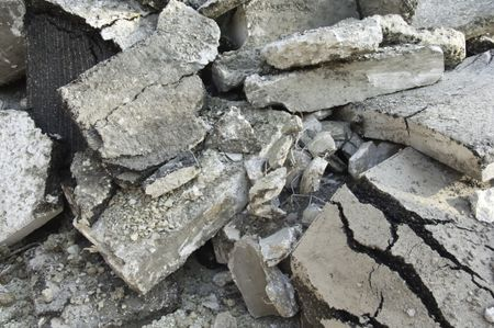 Heap of rubble from street under repair