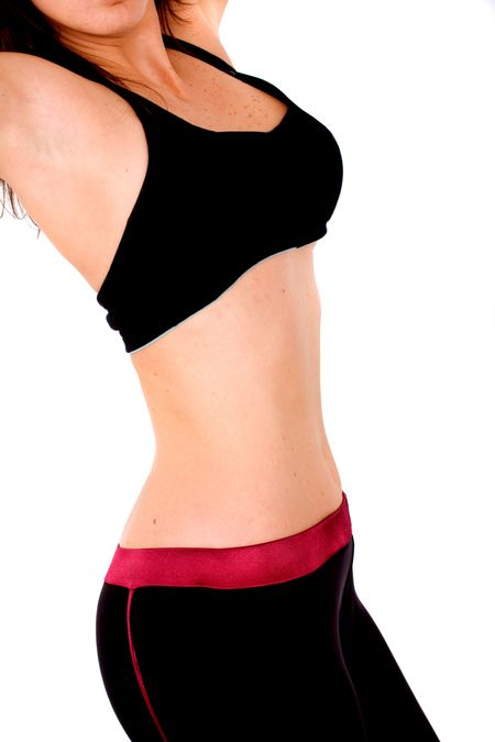 female fitness torso - over a white background