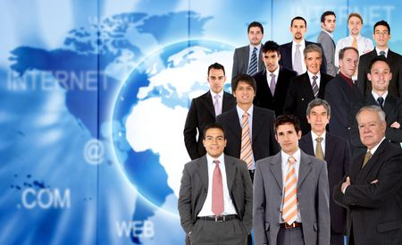 Group of business men over a worldwide map