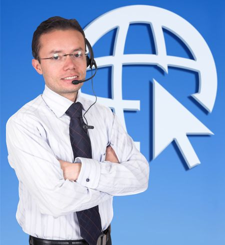 business man with a headset over blue background