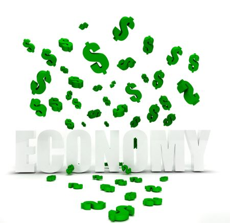 Dollar symbol raining over the word economy isolated