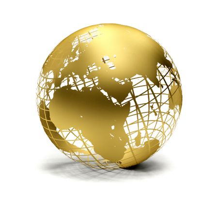 Golden globe isolated over a white background