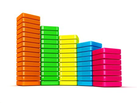 Colorful data graphic with bars isolated over white