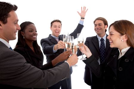 Business people toasting on their success isolated