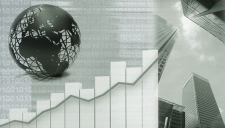 Abstract worldwide business illustration in gray shades