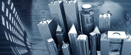 Corporate city illustration in gray shades - business concepts