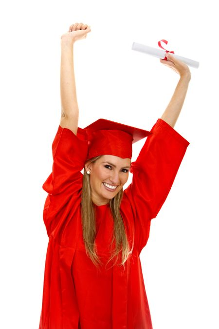 Happy female grad student isolated over white