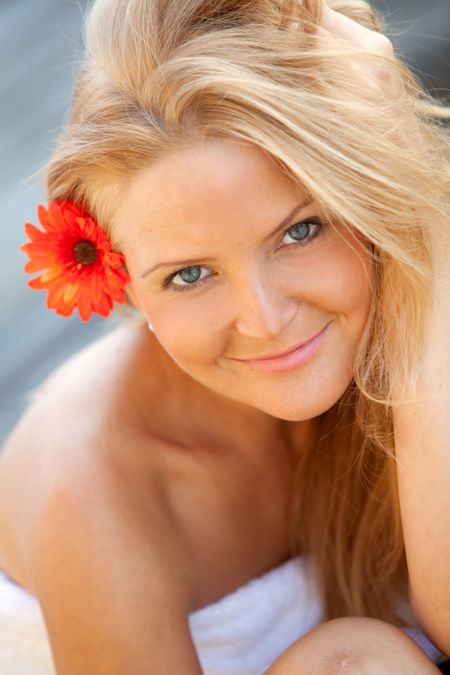 Gorgeous female portrait smiling -beauty concepts