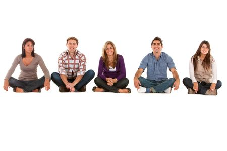 Casual group of seated people isolated over white