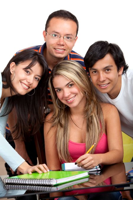 Group of people studying isolated over a white background