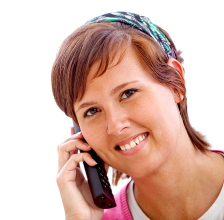 Casual woman portrait talking on the phone isolated