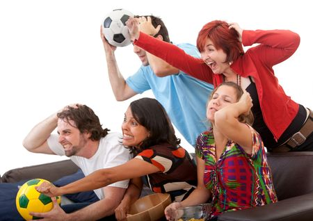 Group of friends watching football isolated over white