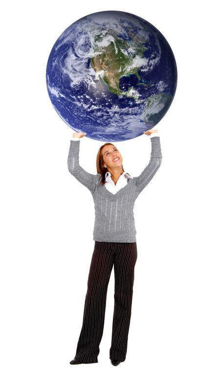 business woman carrying the world isolated over white | Freestock ...