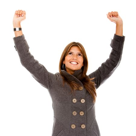 Happy business woman with arms outstretched isolated
