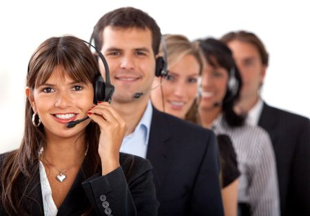 Customer representative service team isolated over white