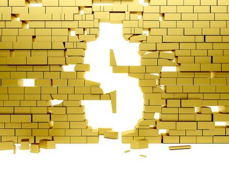 Collapsing golden wall making a dollar symbol