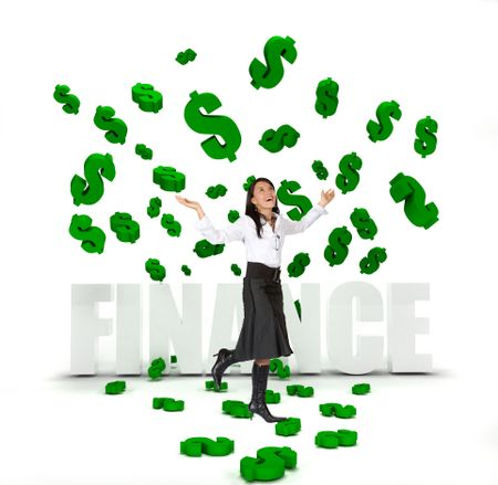 Business woman under a money rain isolated
