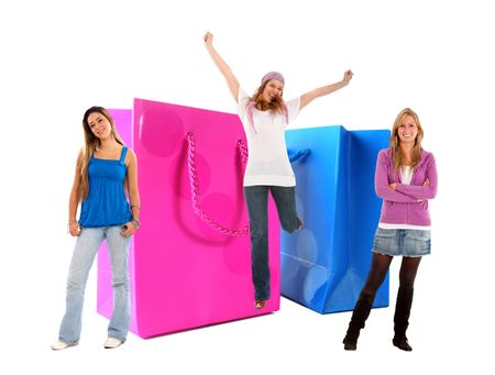 Beautiful women with shopping bags smiling isolated