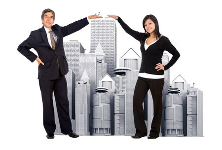 Business people with corporate buildings isolated on white