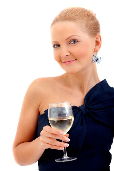Woman in a cocktail dress and a glass of wine isolated