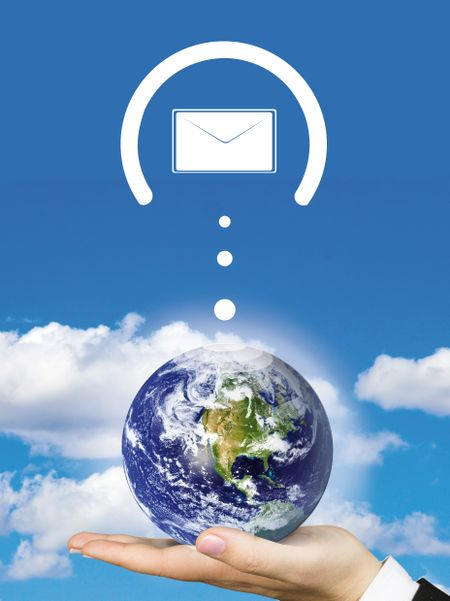 Worldwide mail with envelopes around the earth