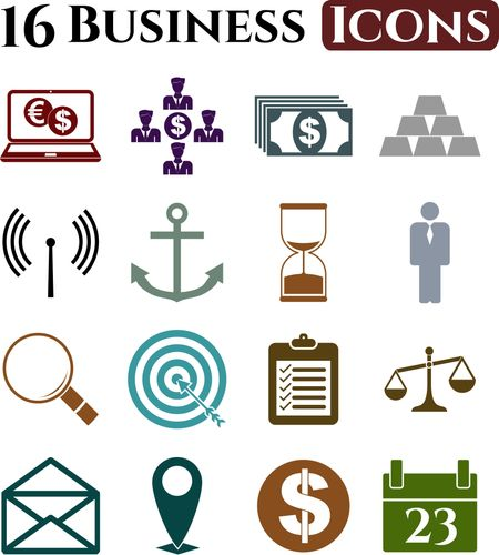 Set of 16 business icons. Quality Icons.