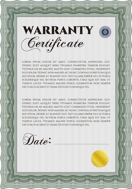 sample warranty certificate template  elegant design  with