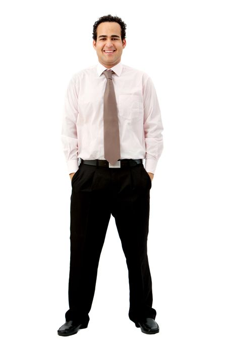 Full body business man isolated over a white background