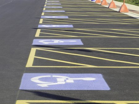 Row of parking spaces reserved for the disabled
