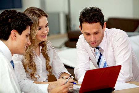 Business people working with laptop at an office