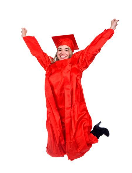 Graduation student jumping isolated over a white background