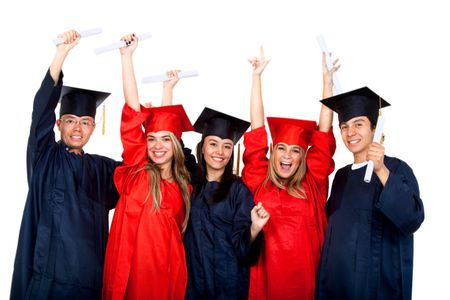 happy graduation students full of success isolated on white