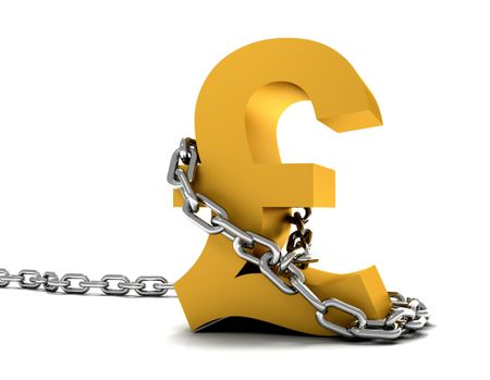 golden pound symbol chained isolated over a white background