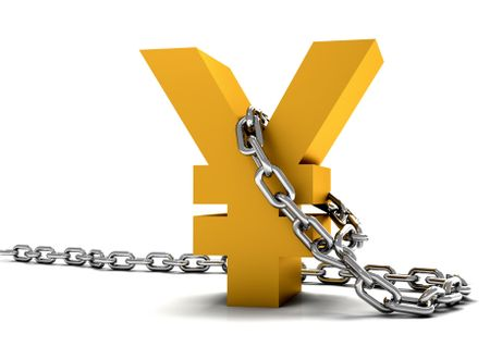 golden yen symbol chained isolated over a white background